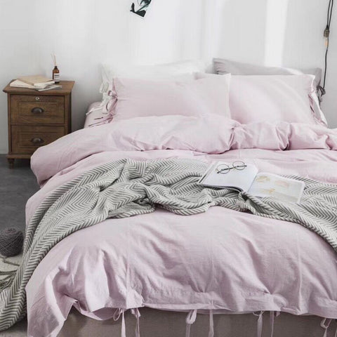 3 piece 100% washed cotton duvet cover set