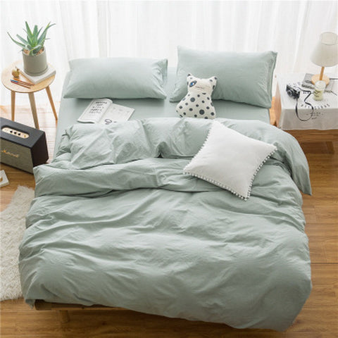 3 piece natural washed cotton Duvet Cover Set  soft bedding set