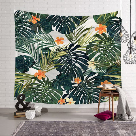 Tropical palm leaves Flower Decor Tapestry Pattern Woven Couch Blanket