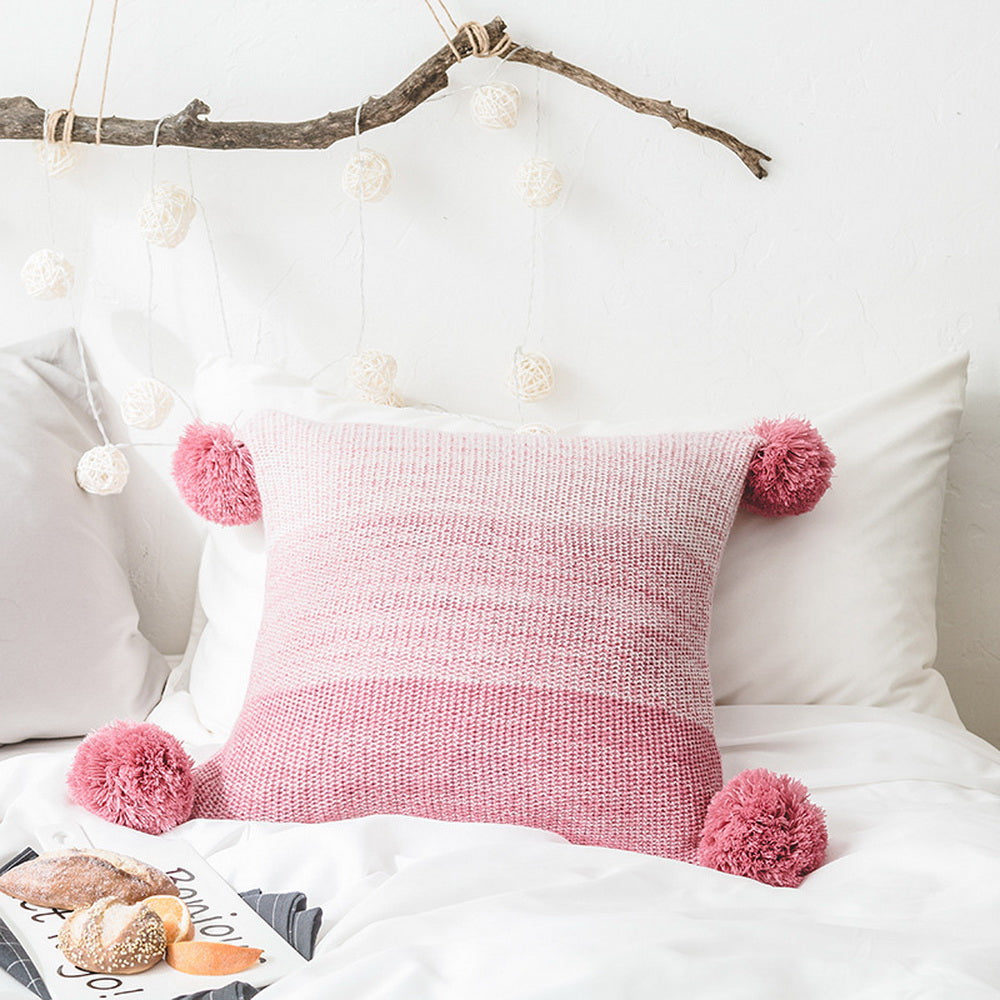 Knitted gradient pillowcase with hand hanging ball