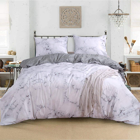 Marble Duvet Cover Set Cotton  White Duvet Cover Queen  King