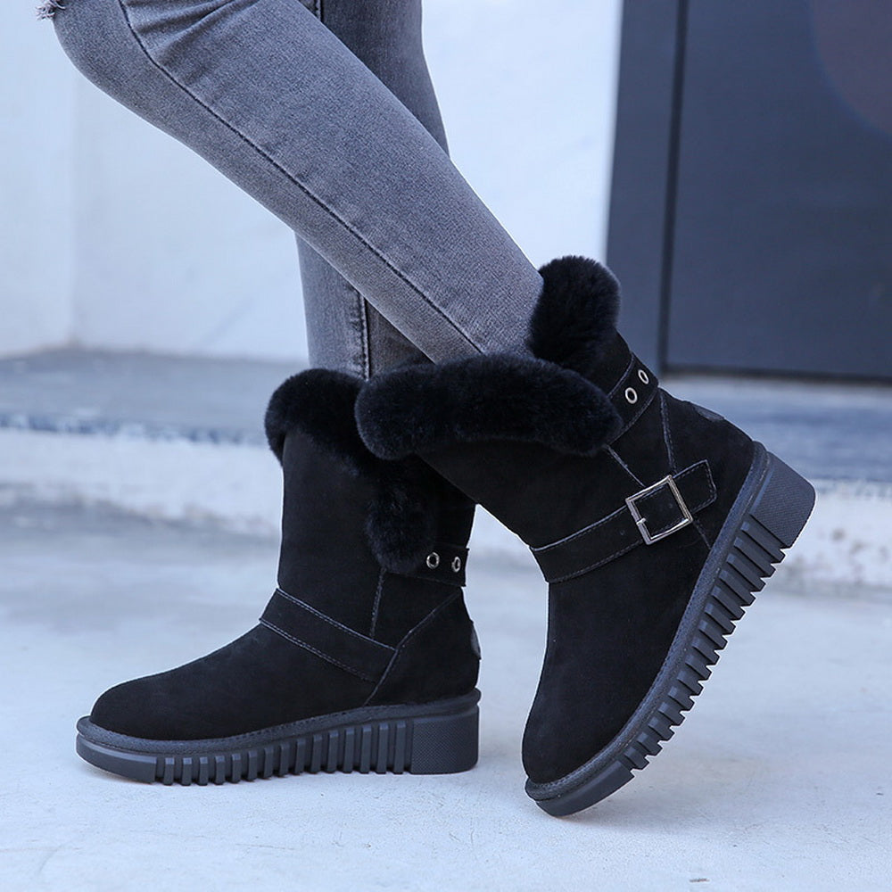 New style high tube warm leather women snow boots