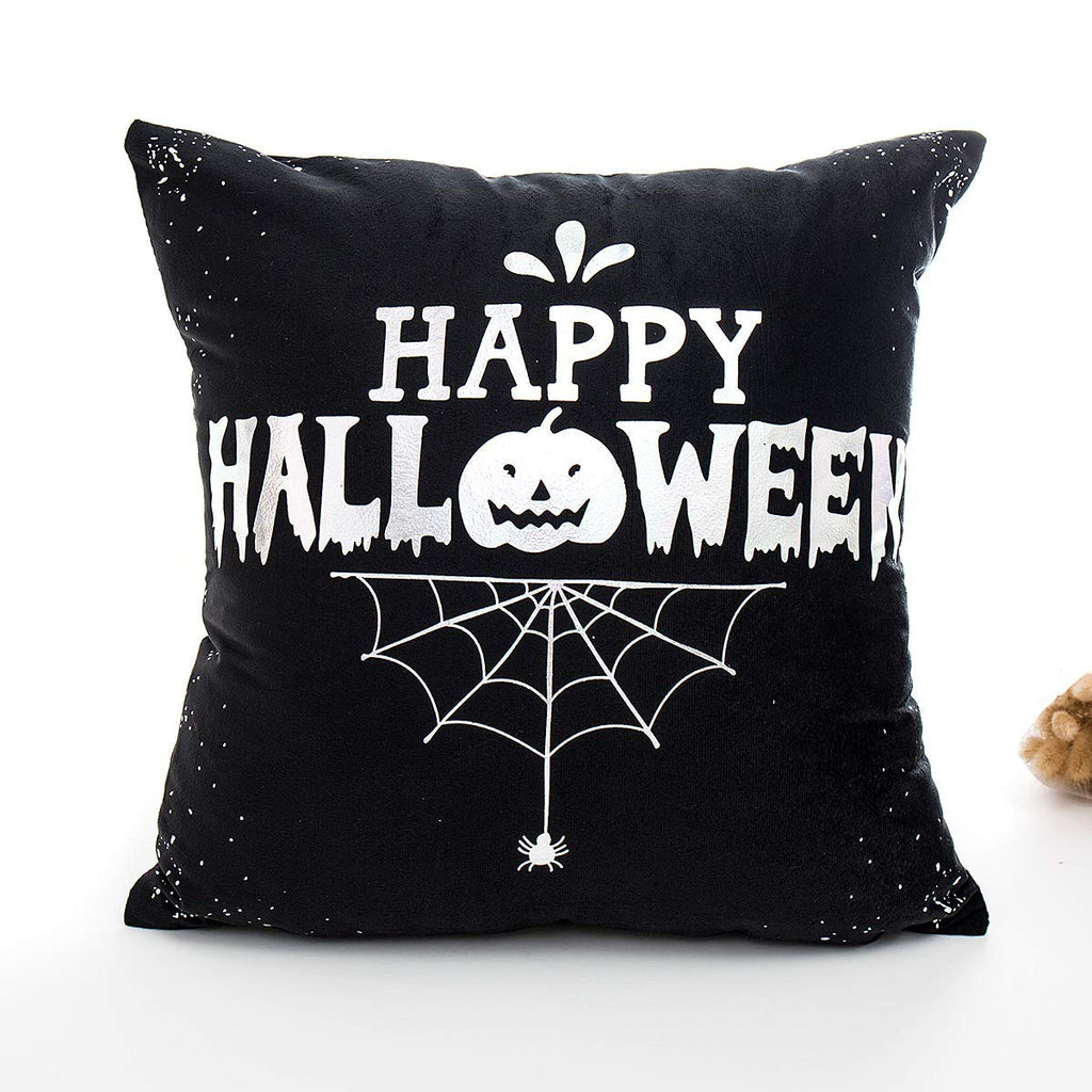 Happy Halloween Black and White Spider Pumpkin Decorative Cushion Cover Pillow Case