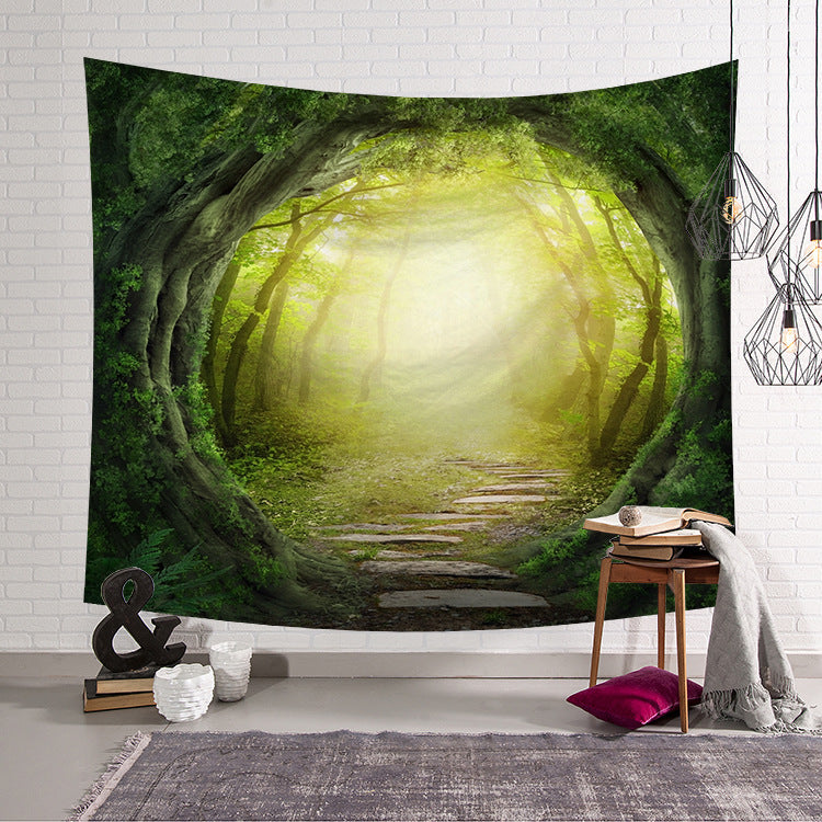 Forest Wall Tapestry Green Fairytale Tropical Trees Wall Hanging Home Decor