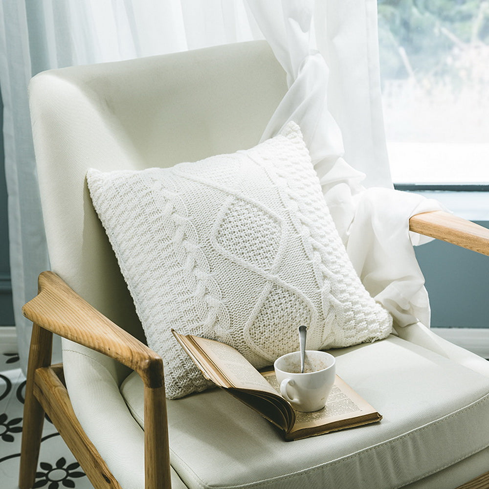 Coarse wool rhombic knit pillowcase