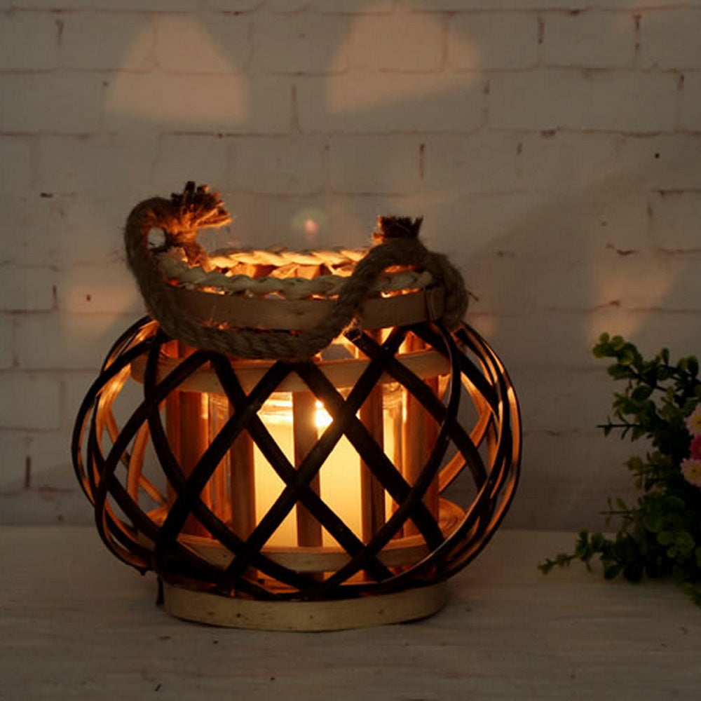 Natural Woven Rattan Candle Lantern  with rope home decoration