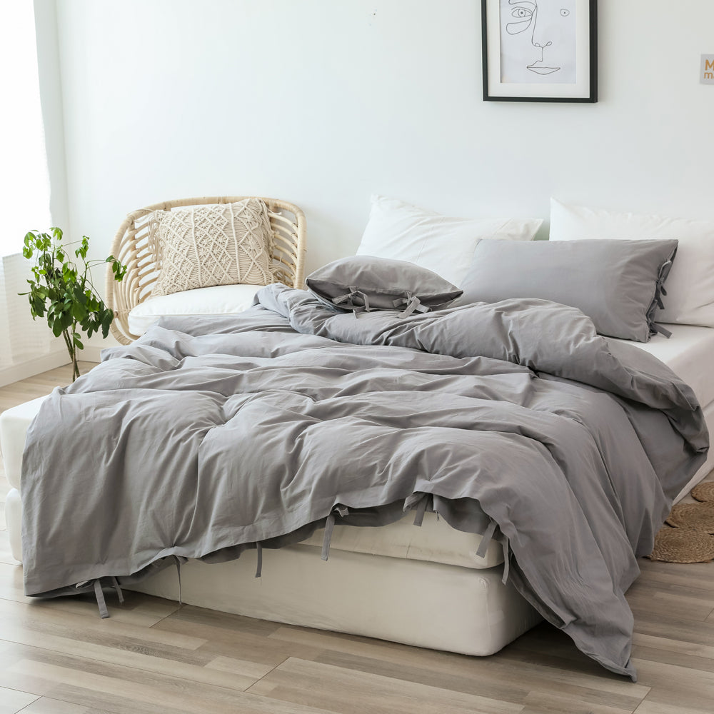 3 Pieces 100% Washed Cotton Queen Duvet Cover, Ultra Soft Lacing Simple Bedding Set, Light Grey
