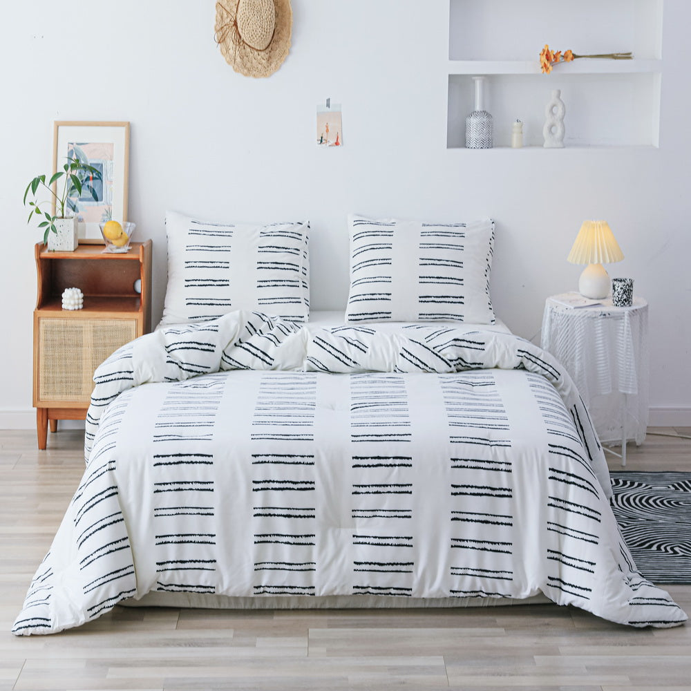 3 PCS Comforter White &  Stripe Pattern Printed Bed Comforter Microfiber Soft Breathable Bedding (1 Comforter, 2 Pillow Shams)