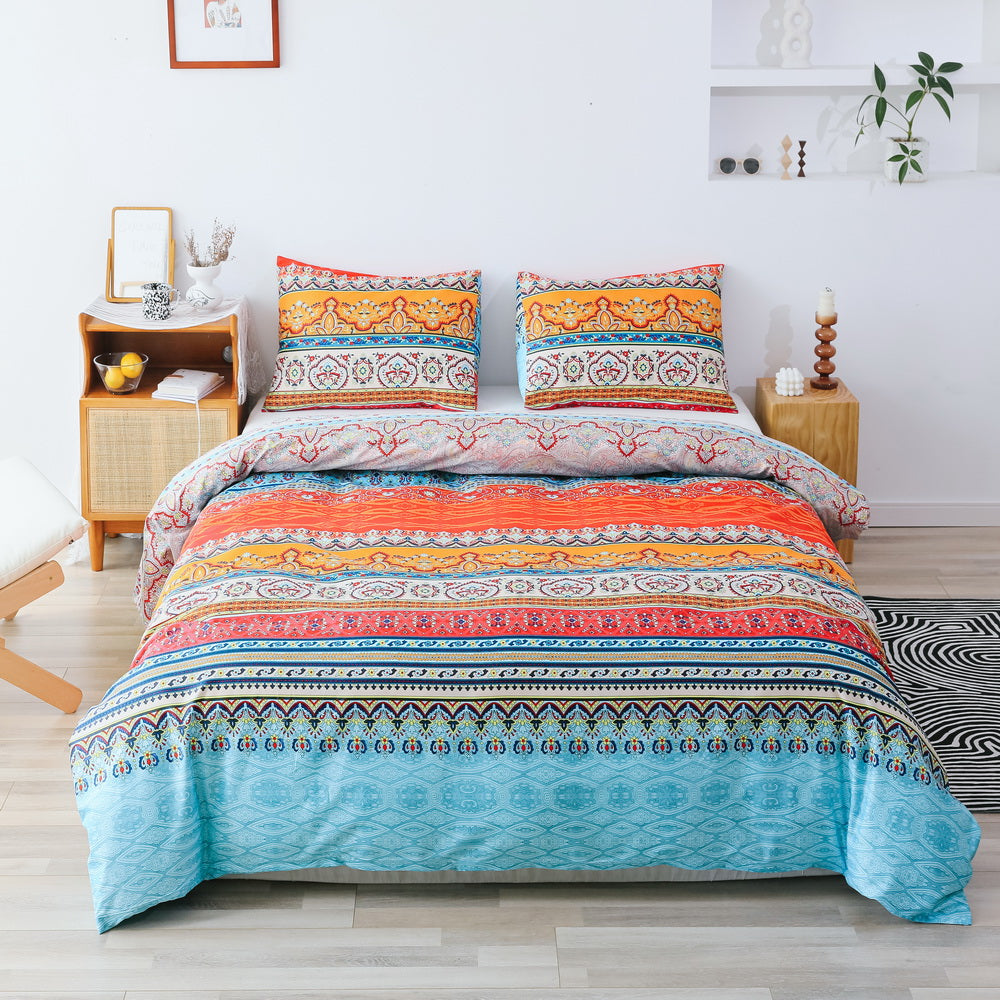 3 PCS Comforter Bohemia Pattern Printed Bed Comforter Microfiber Soft Breathable Bedding (1 Comforter, 2 Pillow Shams)