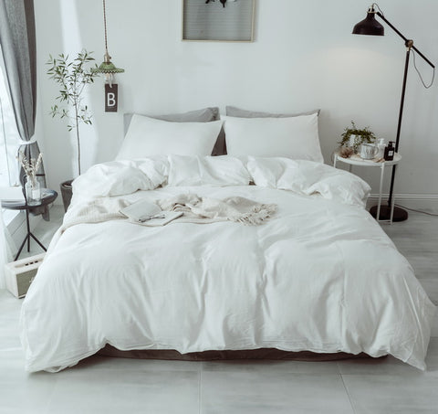 3 Piece 100% Cotton pure white Duvet Cover Set