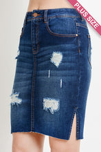 Tucked In Distressed Denim Skirt - Plus Size