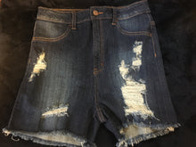 Snatched High Waist Distressed Denim Shorts