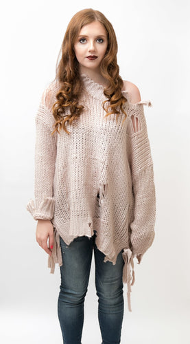 Mauve Oversize Distressed Sweater