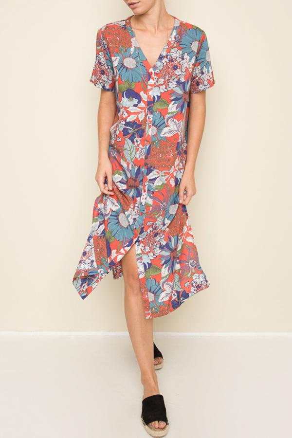 Flower Bed Maxi Shirt Dress
