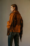 THE FRIDA FRINGE MOTO JACKET IN SADDLE