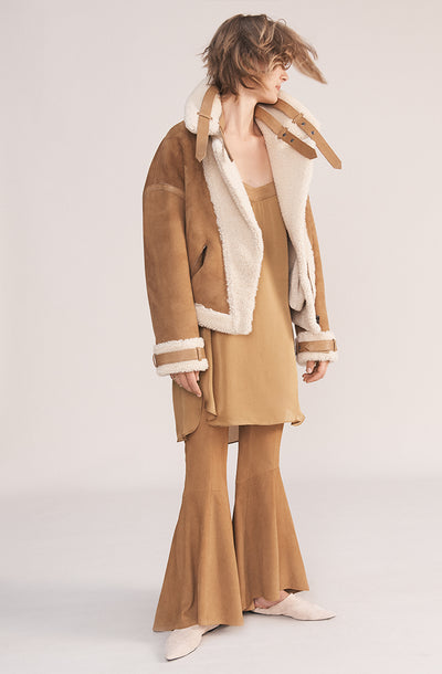 THE LUNA CURLY HAIR REVERSIBLE SHEARLING JACKET