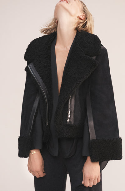 THE CASS CURLY HAIR SHEARLING JACKET (CHAPTER THREE by Arjé)