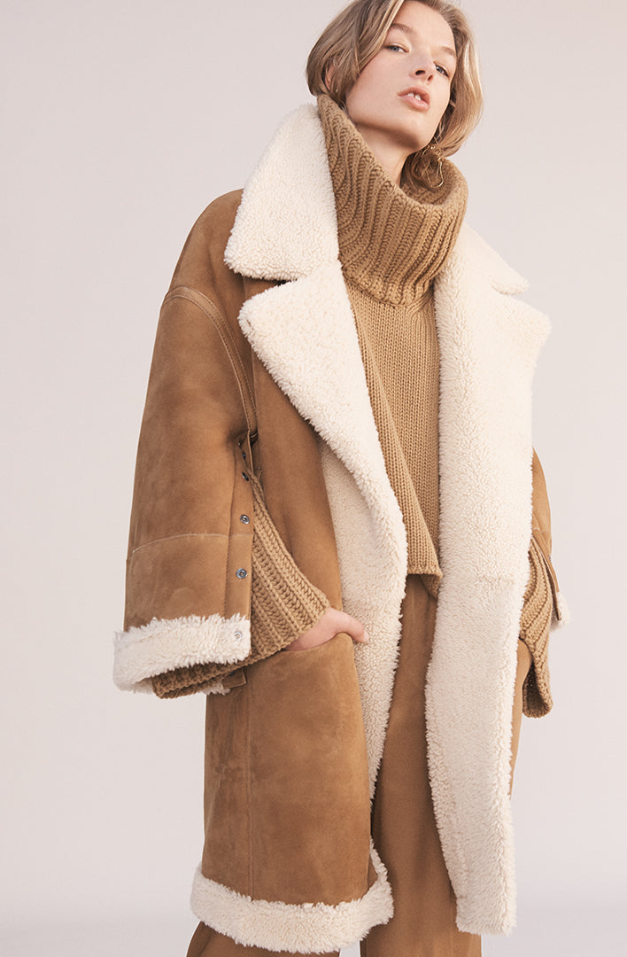 THE SOL CURLY HAIR REVERSIBLE SHEARLING COAT