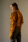 THE ESTELLA RUFFLE SLEEVE PRINT SHIRT IN OCHRE