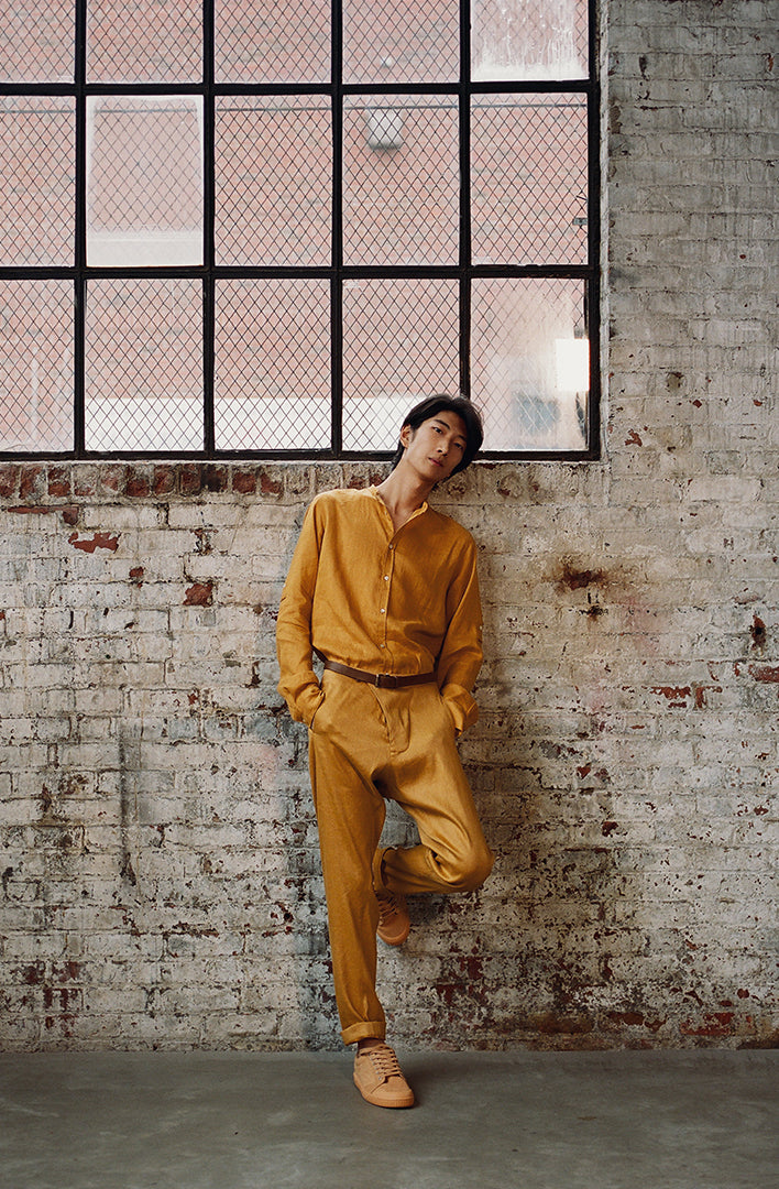 THE TEO DROP CROTCH STRETCH LINEN PANTS