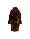 The Amo Reversible Shearling Coat In Espresso
