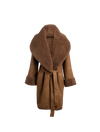 The Anais Reversible Shearling Coat In Mocha