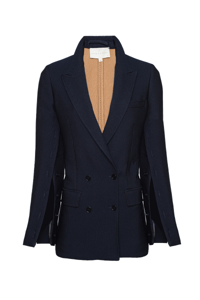 THE KRIS CRUSHED SATIN DOUBLE BREASTED BLAZER