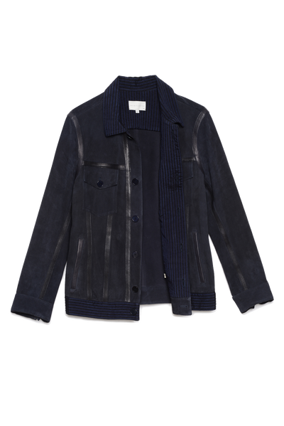 THE MANU STRIPED SUEDE JACKET