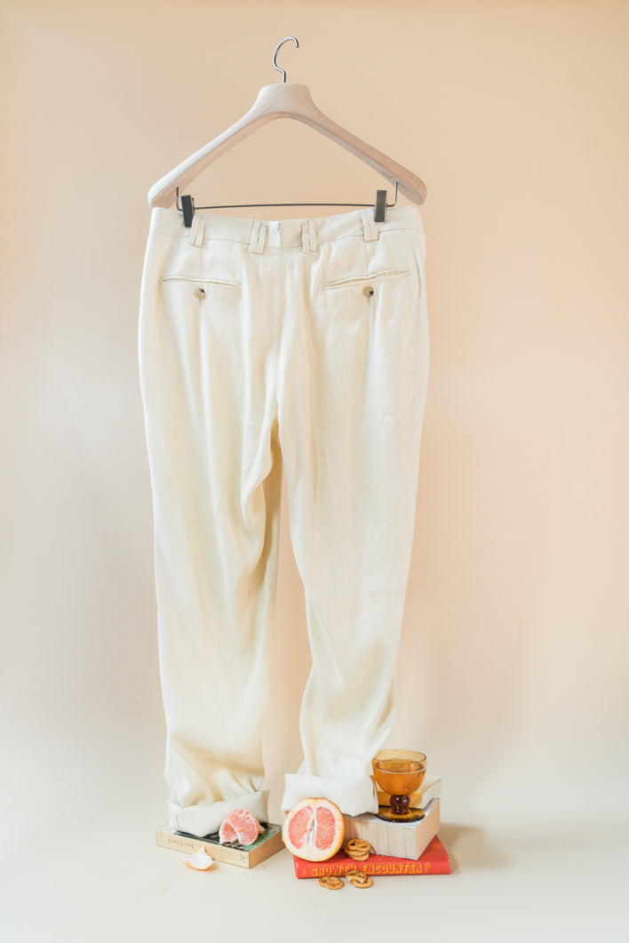 THE QUINO DOUBLE PLEAT LINEN VISCOSE PANTS