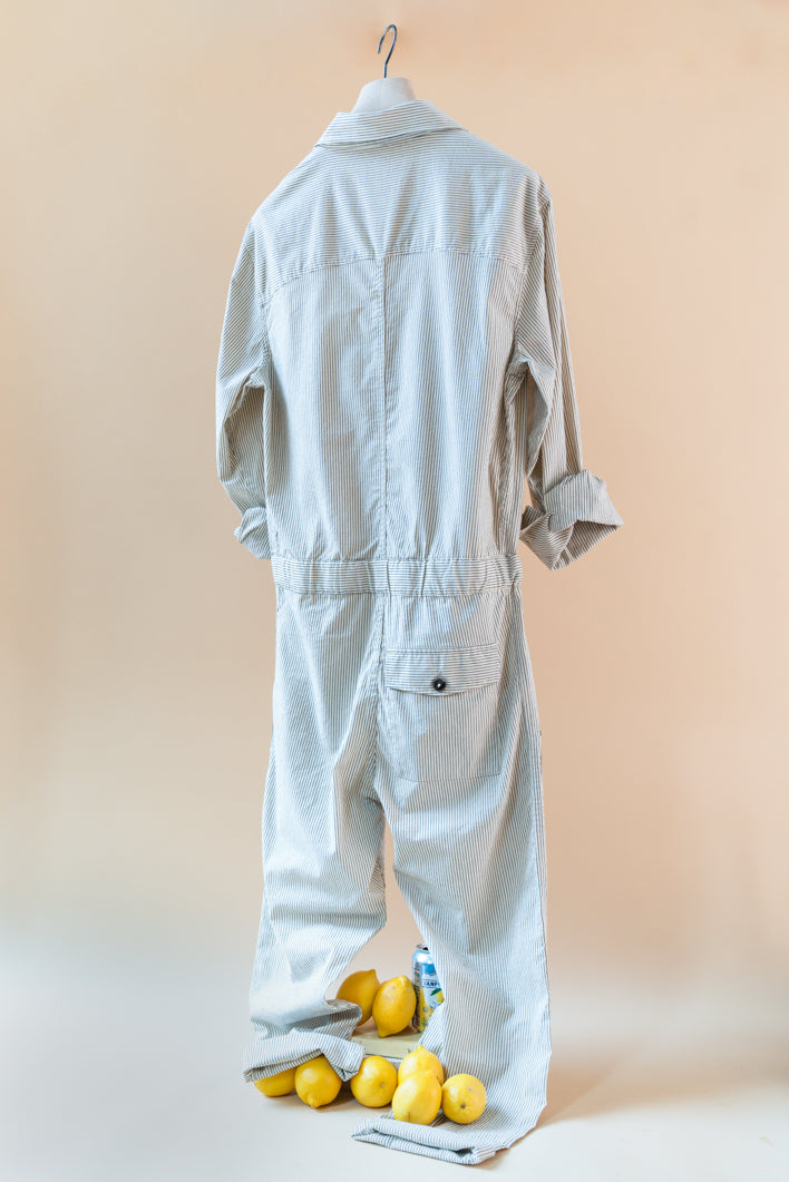 THE JORDAN STRIPED COTTON  JUMPSUIT