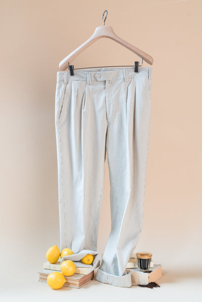 THE QUINO DOUBLE PLEAT COTTON STRIPE PANTS