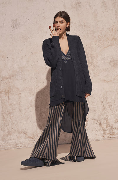 THE TESS STRIPED SATIN FLARE PANTS
