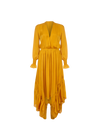 THE INDIRA ORIENTAL SILK LONG RUFFLE DRESS