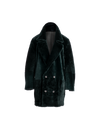 The Mars Reversible Shearling Coat In Emerald