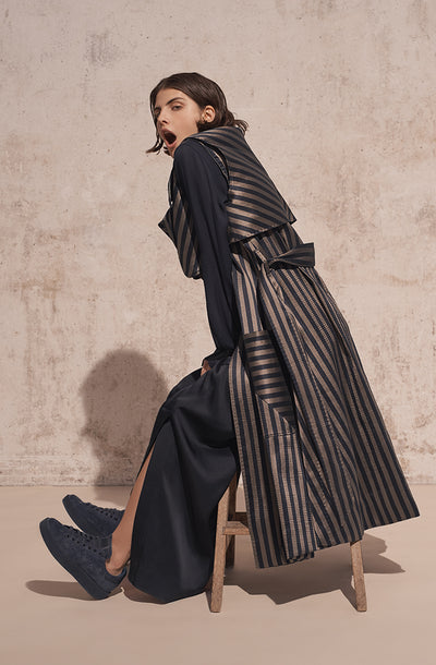 THE KYRA SATIN STRIPED TRENCH COAT