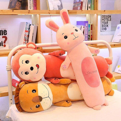 Image of Plush Toys Stuffed Animals Lion Frog Monkey Rabbit Long Cylindrical Pillow Gifts For Family & Friends