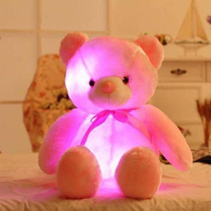 LED Teddy Bear Stuffed Animals Plush Toy Colorful Glowing Christmas Gift for Kids