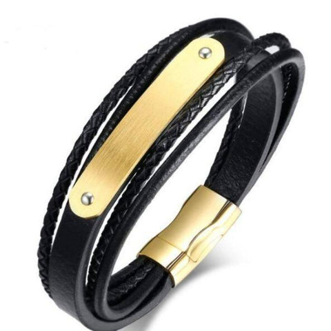 Image of Engraved Bracelets Personalized Black Leather Rope Bracelet For Men - Gifts For Family Online