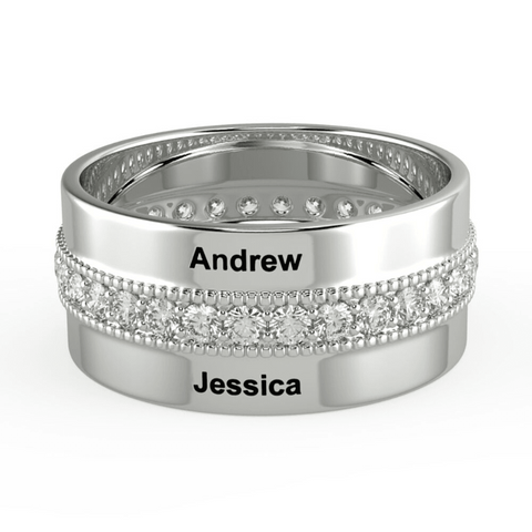 Personalized Custom Name Band Ring Two Names Engraved Unique Gifts For Her