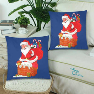 Santa Claus Twin Pillow Covers Christmas Themed Home Decoration