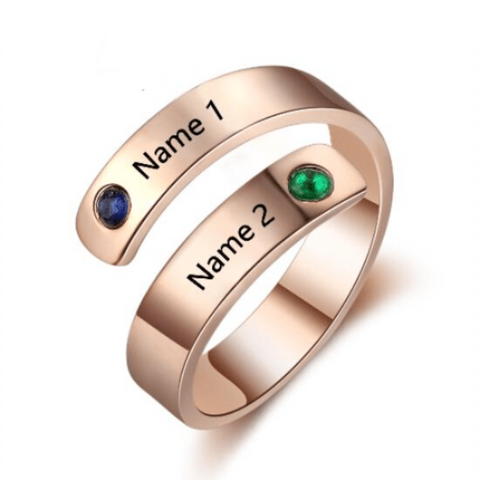 Image of Engraved Rings Name Rings Personalized Birthstone Ring Engraved Names Adjustable Ring - Gifts For Family Online