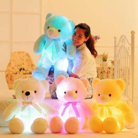 Image of LED Teddy Bear Stuffed Animals Plush Toy Colorful Glowing Christmas Gift for Kids