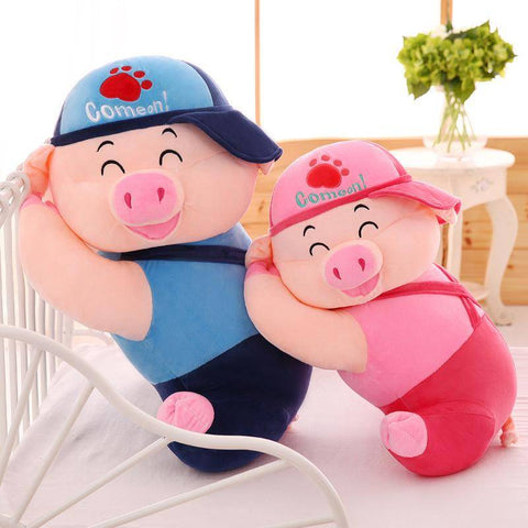 Image of Pig Plush Toy Pink/Blue Stuffed Animal Toys Kawaii Pillow Gifts For Family