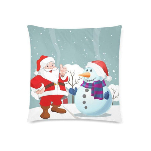 Santa & Snowmen Throw Pillow Cover 18 x 18 Christmas Home Gifts