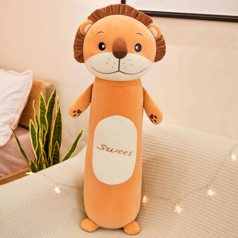 Image of Cartoon Plush Toy Lion Frog Monkey Rabbit Long Cylindrical Stuffed Animals Plush Toys Pillow - Gifts For Family Online