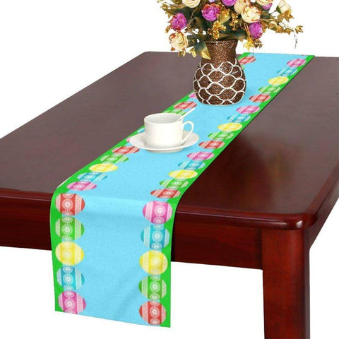 "72"" Easter Table Runner Blue Easter Eggs Home Decor - Gifts For Family Online"