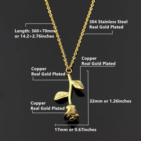 Image of Gold Rose Flower Statement Necklace For Women