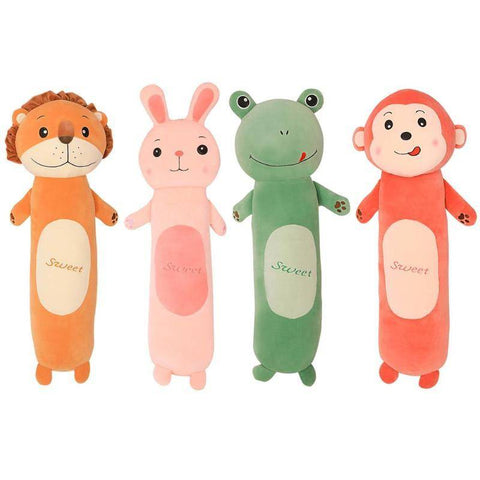 Plush Toys Stuffed Animals Lion Frog Monkey Rabbit Long Cylindrical Pillow Gifts For Family & Friends