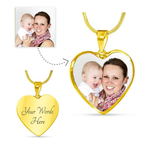 Image of Engraved Pendant Personalized Photo Necklace Heart Shaped Custom Jewelry Gifts For Mom
