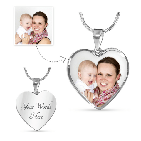 Engraved Pendant Personalized Photo Necklace Heart Shaped Custom Jewelry Gifts For Mom